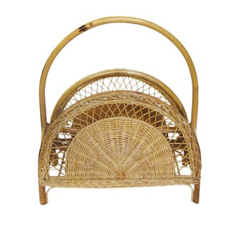 Bohemian Wicker & Bamboo Magazine Rack For Sale
