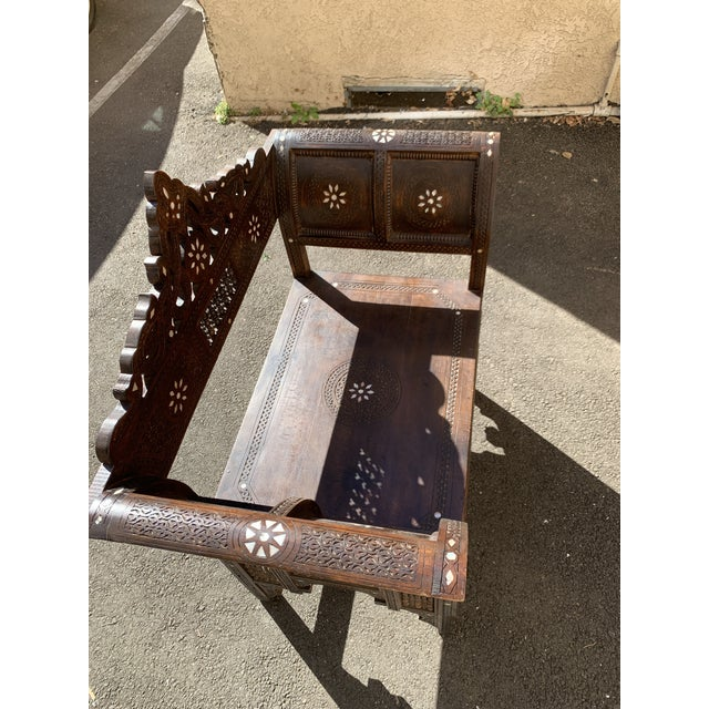 Vintage Mother of Pearl Inlay Morrocan Bench For Sale - Image 10 of 12