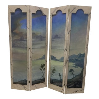 1920s Two- Fold Vintage Wood and Canvas Painted Dressing Screens - a Pair For Sale