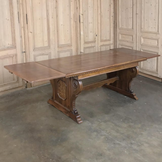 Antique Italian Baroque Inlaid Walnut Draw Leaf Dining Table For Sale - Image 4 of 13