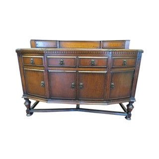 Antique English Carved Oak Sideboard or Buffet For Sale
