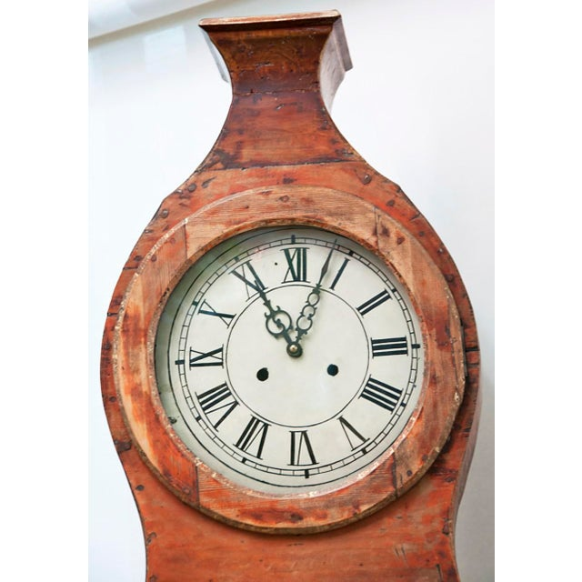 Cottage 19th Century Painted Swedish Tall Case Clock For Sale - Image 3 of 6