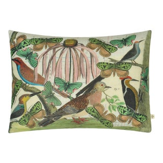 Floral Aviary Parchment Cushion For Sale