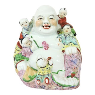 Late 20th. Century Porcelain Famille Jaune Chinese Laughing Buddha and Five Children For Sale