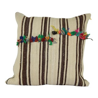 "Vintage Unique Turkish Hemp Kilim Pillow 24"" X 24"" For Sale"