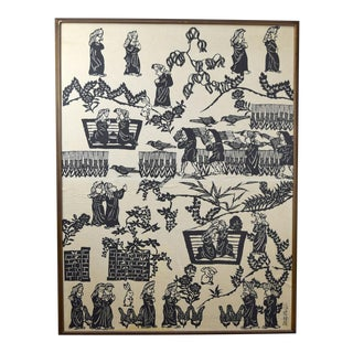 Sadao Watanabe Very Large Fine Ssaku Hanga Japanese Art For Sale