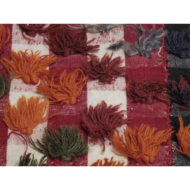 Fabric Kurdish Jajim with poms of wool and angora For Sale - Image 7 of 7