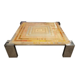 1970s Modern Marcello Mioni Pietra Dura Marble & Chrome Coffee Table For Sale
