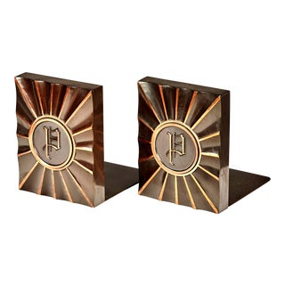 1960s Metal Monogrammed Bookends, Pr