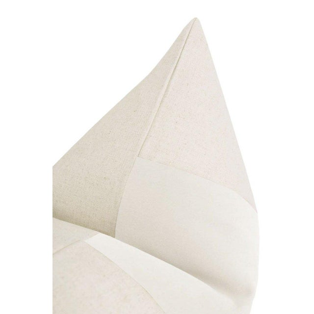 "22"" Alabaster Velvet Panel & Linen Pillows - a Pair For Sale - Image 4 of 6"