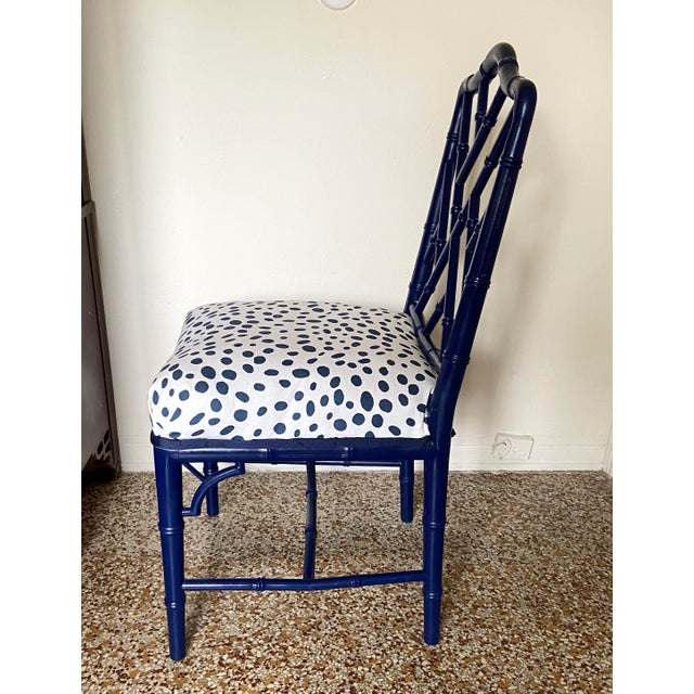 Century Furniture 1960s Chinese Chippendale Style Century Furniture Navy Lacquer Faux Bamboo Chair For Sale - Image 4 of 13