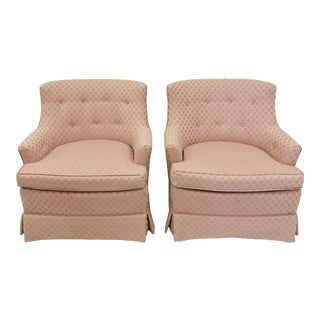 Pair Vintage Tufted Button Back Club Chairs For Sale
