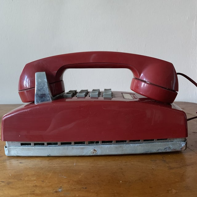Vintage Red Push Button Telephone For Sale - Image 11 of 11