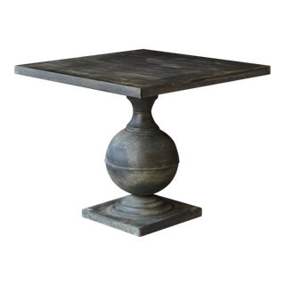 Zinc Pedestal on Baluster Form Base Outdoor Table With Square Top For Sale