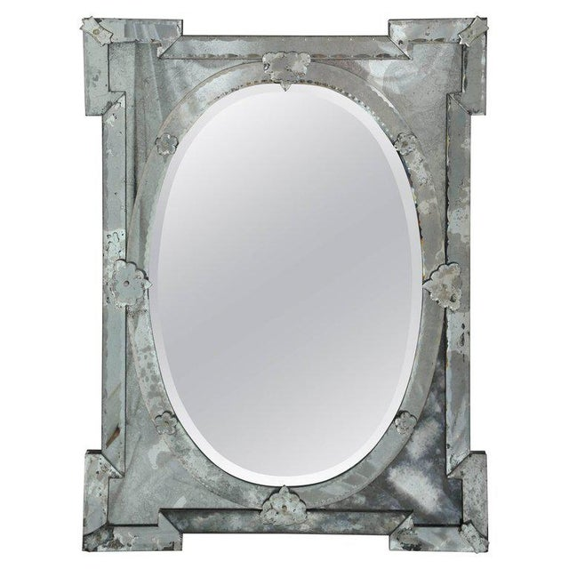 Gray 1940's Venetian Mirror With Elegant Shield Form Hand Etched Designs For Sale - Image 8 of 8