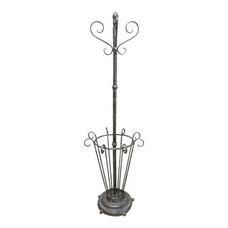Antique French Regency Scrolled Cast Iron Metal Umbrella Stand Clothes Tree Rack For Sale