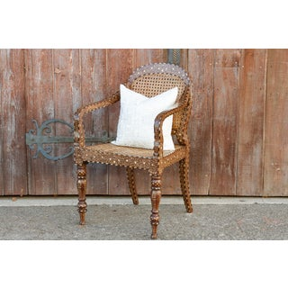 Vintage Anglo Indian Bone Inlay Round Back Chair Preview
