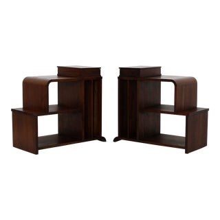 Art Deco Pair of Tiered Walnut Side End Tables Shelves Desky Rohde Frankl Era For Sale
