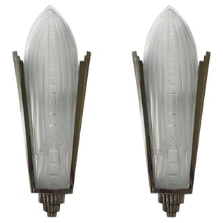 French Art Deco Sconces Signed by Genet Et Michon - a Pair For Sale