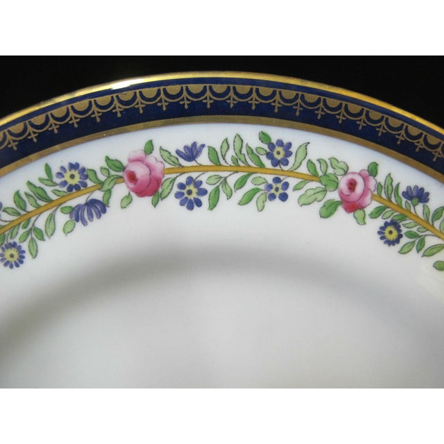 "English Early 20th Century Copeland Spode England Cobalt Blue Gold Gilt Floral 9"" Salad Plates - Set of 4 For Sale - Image 3 of 6"