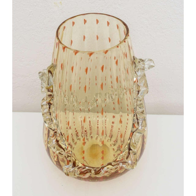Glass Barovier & Toso Amber and Dark Orange Colored Murano Glass Vase For Sale - Image 7 of 13