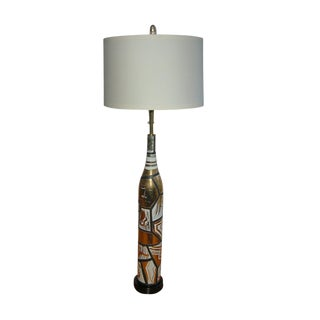 Marbro Italian Porcelain Floor Lamp Gold For Sale