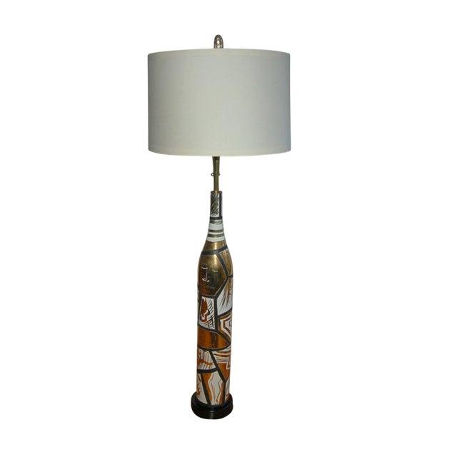 Marbro Italian Porcelain Floor Lamp Gold For Sale