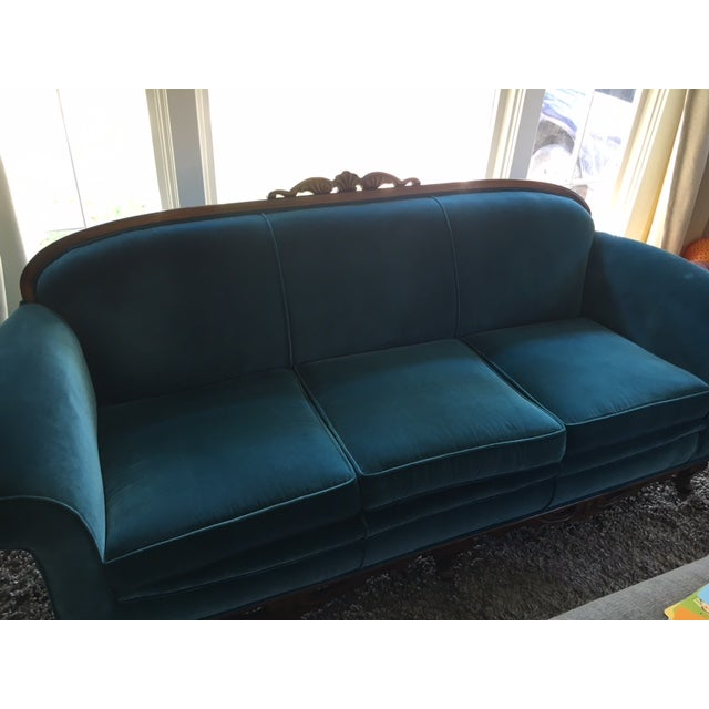 Traditional Peacock Blue Velvet Sofa For Sale - Image 3 of 6