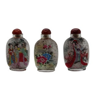 Lot of Three Clear Glass Inside Painting Lady Story and Flower Snuff Bottle For Sale