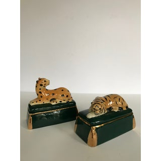 Vintage Takahashi Ceramic Tiger and Leopard Trinket Boxes - Set of 2 Preview