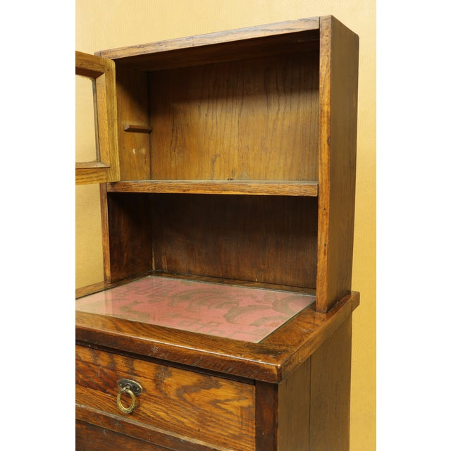 Wood Antique American Two-Part Step Back Cupboard With Hutch For Sale - Image 7 of 13