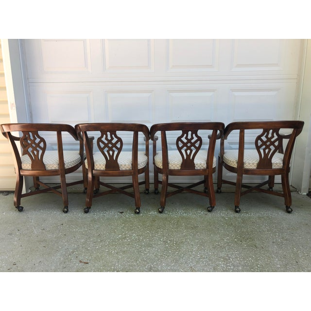 Drexel Heritage Chippendale Horseshoe Dining Chairs on Casters- Set of 4 For Sale - Image 10 of 13