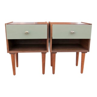 """Mid-Century Modern Walnut """"Turtle and Hare"""" Night Stands - a Pair For Sale"""
