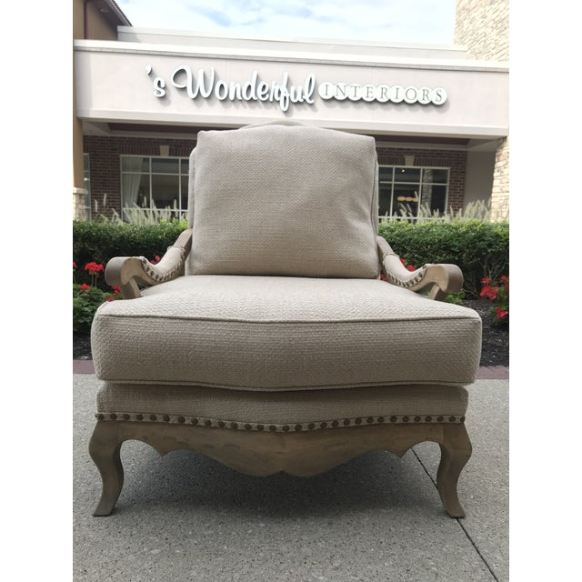 Gustavian (Swedish) 1990s Vintage Country French Bergere Chair and Ottoman Linen For Sale - Image 3 of 11
