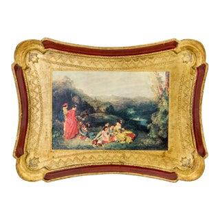 Gilded Florentine Tray W/ Baroque Scene For Sale