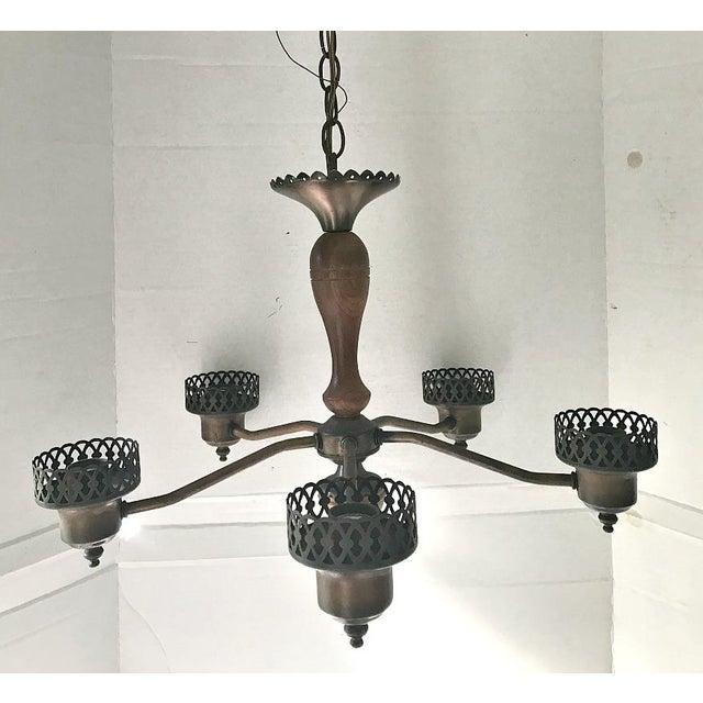 Mid Century Modern Copper & Wood Amber Glass Chimney Globe ...