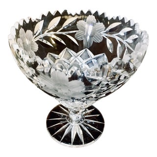 C.1900 American Brilliant Period Floral Cut Glass Compote Bowl For Sale