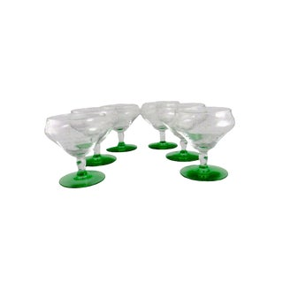 1920s Tiffin-Franciscan Uranium Glass Champagne Coupes - Set of 6 For Sale