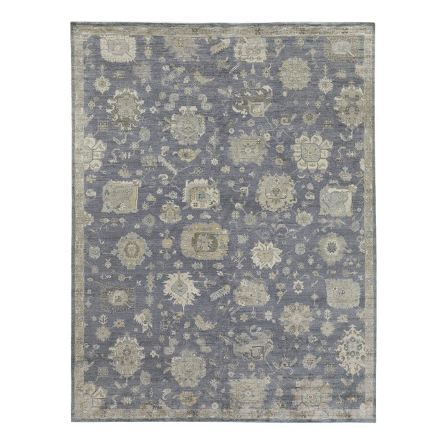 Chester Hand knotted Bamboo/Silk Medium Blue Rug-8'x10' For Sale