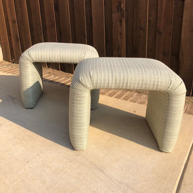Fabric Vintage Pale Green Waterfall Stools - a Pair For Sale - Image 7 of 7