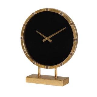Art Deco Gold Black Face Clock For Sale