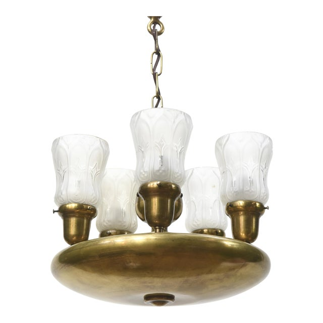 Five Light Early Electric Disk Fixture - Image 1 of 5
