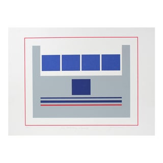 """""""Five Military Squares"""" Minimal Abstract Serigraph, Late 20th Century For Sale"""