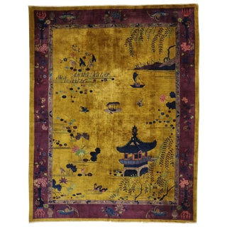 Early 20th Century Antique Chinese Art Deco Period Rug - 9′1″ × 11′6″ For Sale