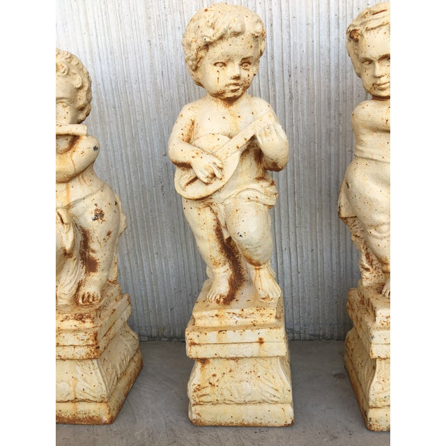 Traditional 19th Cast Iron Fiske Cherubs Boy Garden Statues With Stands For Sale - Image 3 of 11