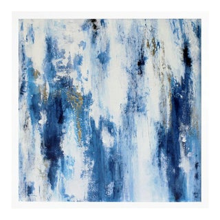 """""""Cracked Blue Ice"""" Contemporary Abstract Acrylic Painting, Framed For Sale"""