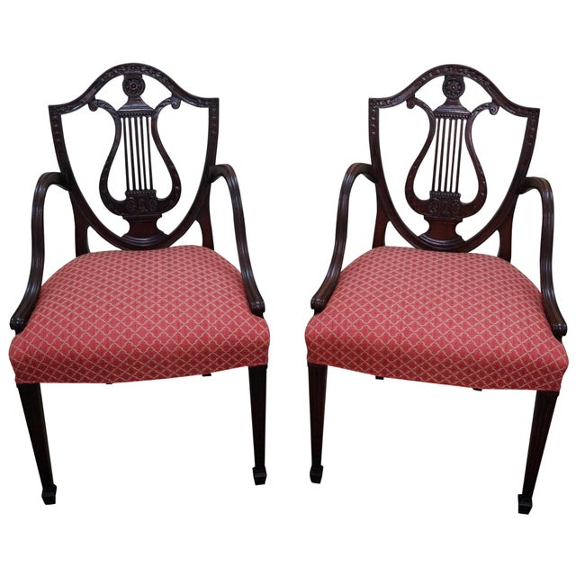 Mahogany Adams Carved Shield Back Chairs - A Pair - Image 1 of 10