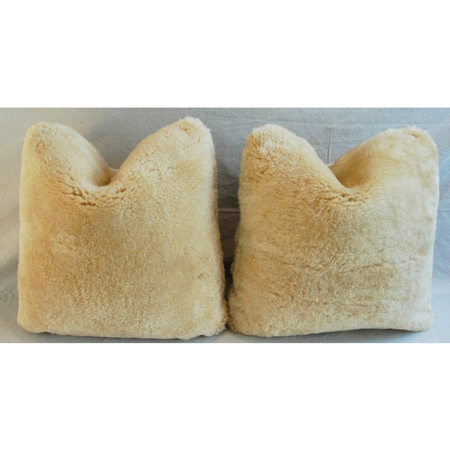Plush Rich Golden Lambswool Pillows - Pair - Image 4 of 8