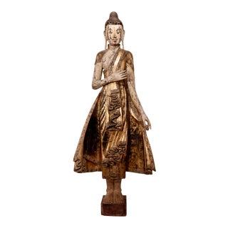 Antique Burmese Mandalay Carved Wood Buddha Figure For Sale
