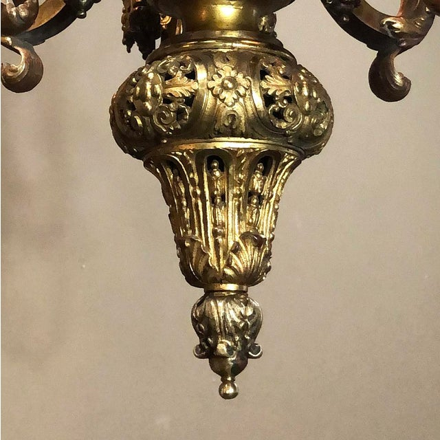 Antique French Louis XIV Bronze Chandelier For Sale In Dallas - Image 6 of 13